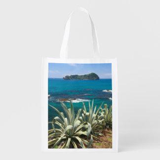 Islet and coastal vegetation reusable grocery bag