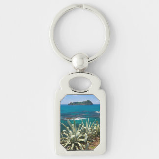 Islet and coastal vegetation Silver-Colored rectangle keychain
