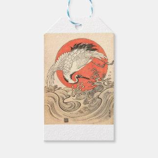 Isoda Koryusai - Crane, Waves and Rising Sun Pack Of Gift Tags