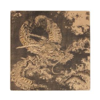 Isoda Koryusai Dragon Maple Wood Coaster