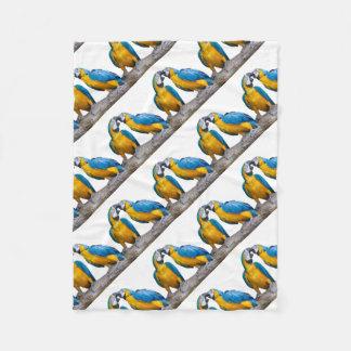 isolated ara ararauna parrot fleece blanket