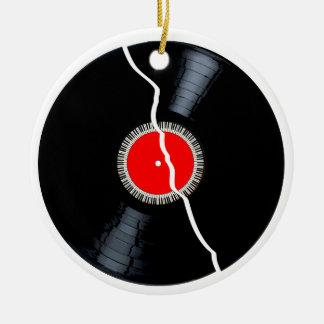Isolated Broken Record Round Ceramic Ornament