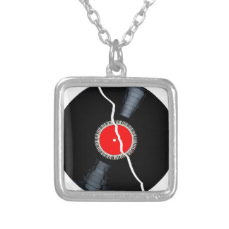 Isolated Broken Record Silver Plated Necklace