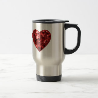 Isolated Floral Heart Shape Ornament Travel Mug