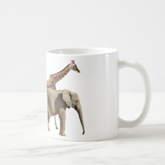 Isolated giraffes and elephants walking coffee mug