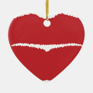 Isolated Lip Kiss Ceramic Ornament