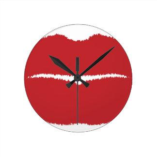 Isolated Lip Kiss Round Clock