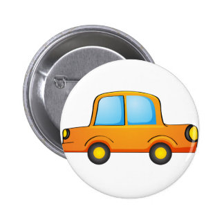Isolated toy car on white 2 inch round button