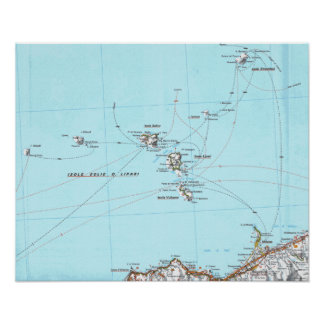 isole eolie mappa map poster