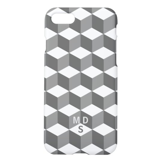 Isometric Cube Pattern Monogram iPhone 8/7 Case