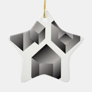 Isometric objects ceramic star ornament