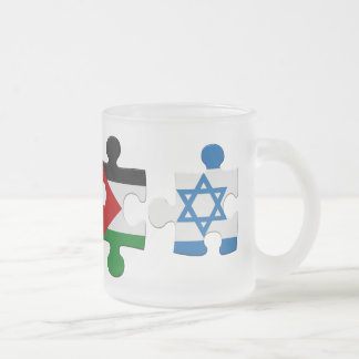 Israel and Palestine Conflict Flag Puzzle Frosted Glass Coffee Mug
