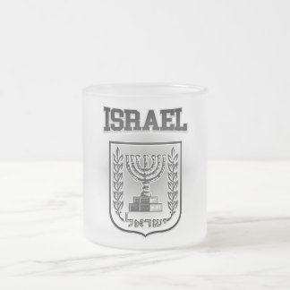 Israel Coat of Arms Frosted Glass Coffee Mug