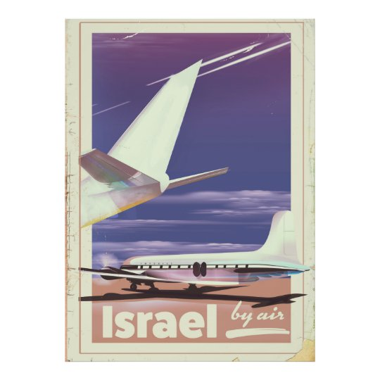 Israel Commercial airliner travel poster