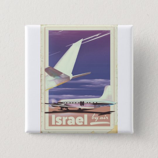 Israel Commercial airliner travel poster 2 Inch Square Button