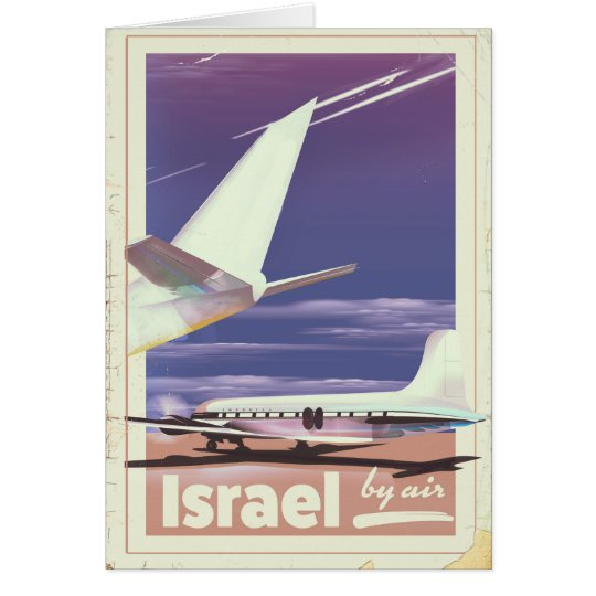 Israel Commercial airliner travel poster Card