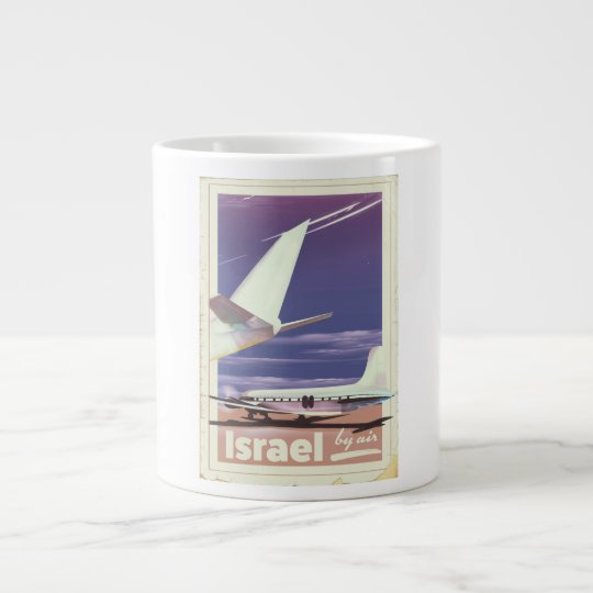 Israel Commercial airliner travel poster Large Coffee Mug
