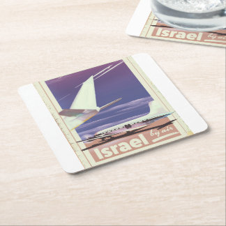 Israel Commercial airliner travel poster Square Paper Coaster