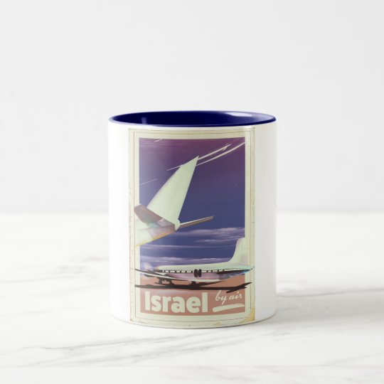 Israel Commercial airliner travel poster Two-Tone Coffee Mug
