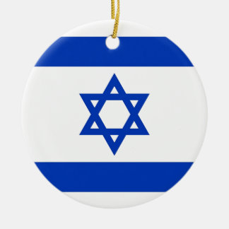 Israel Flag Round Ceramic Ornament