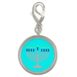 Israel Silver / Blue Hanukkah Menorah on Aqua Blue Charms