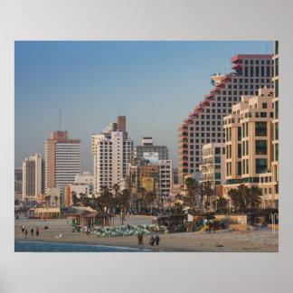 Israel, Tel Aviv, beachfront, hotels, dusk Posters