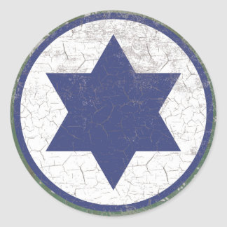 Israeli Blue Star Air Force Roundel Rustic Classic Round Sticker
