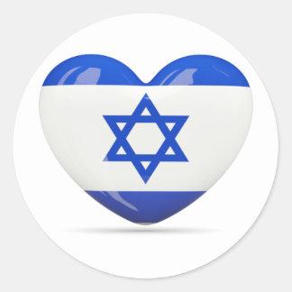 Israeli Flag Heart Classic Round Sticker