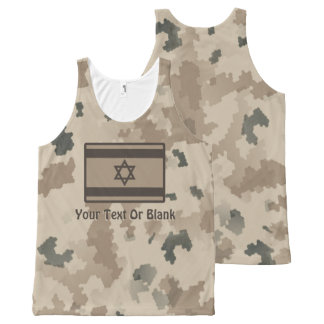 Israeli Flag On Desert Camo All-Over-Print Tank Top