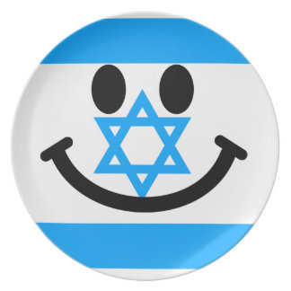Israeli flag smiley face plate