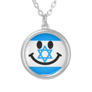 Israeli flag smiley face silver plated necklace