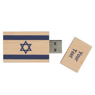 Israeli Flag Wood USB Flash Drive