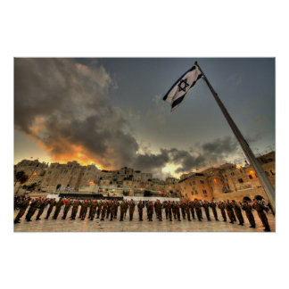 Israeli IDF Soldiers at Western Wall Plaza Poster