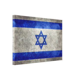 Israeli national flag on stone texture canvas print