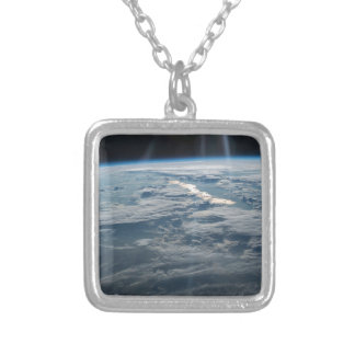 ISS-47 Lake Balkhash, eastern Kazakhstan Silver Plated Necklace