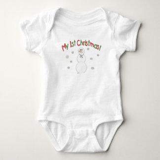 Ist Christmas Snowman Baby Bodysuit