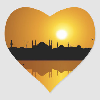 Istanbul and sunset heart sticker