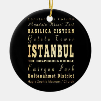 Istanbul City of Turkey Typography Art Ceramic Ornament