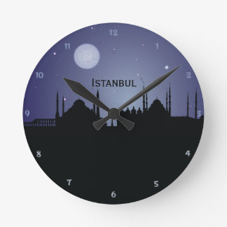 Istanbul CityScape Night Silhouette Wall Clock
