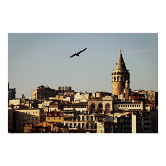 Istanbul - Galata Tower at Sunset Poster