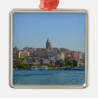 Istanbul - Galata Tower Silver-Colored Square Ornament