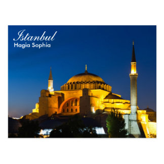 Istanbul - Hagia Sophia at night postcard