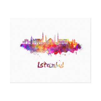 Istanbul skyline in watercolor canvas print