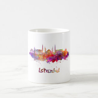 Istanbul skyline in watercolor coffee mug