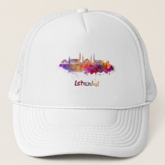 Istanbul skyline in watercolor trucker hat