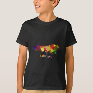 Istanbul skyline in watercolor tshirts