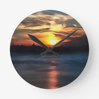Istanbul Skyline Round Clock