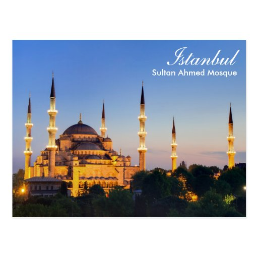 Istanbul - Sultan Ahmed Mosque at night postcard