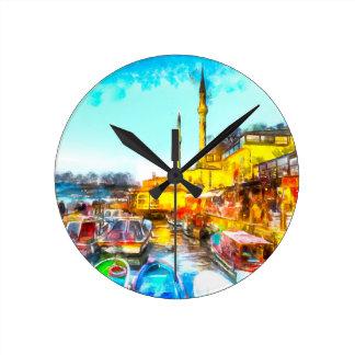 Istanbul Turkey Art Round Clock