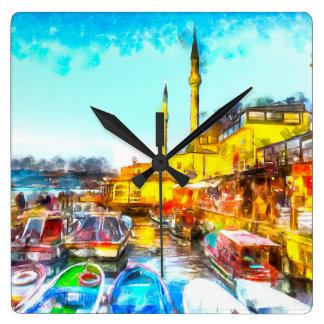 Istanbul Turkey Art Square Wall Clock
